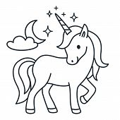 Cute Unicorn Simple Cartoon Vector Coloring Book Illustration. Simple Flat Line Doodle Icon Contempo poster