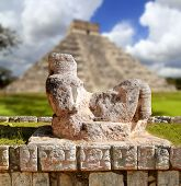 Chac Mool Chichen Itza figure with tray on stomach Mexico Yucatan