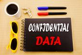 Hand Writing Text Caption Showing Confidential Data. Business Concept For Secret Protection Written  poster