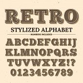 Vintage Typography Vector Font. Decorative Retro Alphabet. Old Western Style Letters And Numbers. Il poster