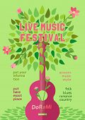 Template Design Poster With Acoustic Guitar Silhouette Spring Green Leaves. Design Idea Live Music F poster