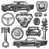 Vintage Car Components Collection Witn Automobile Motor Engine Piston Steering Wheel Tire Headlights poster