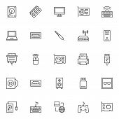 Computer Components Outline Icons Set. Linear Style Symbols Collection, Line Signs Pack. Vector Grap poster