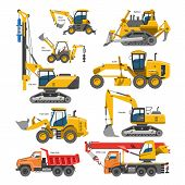 Excavator For Construction Vector Digger Or Bulldozer Excavating With Shovel And Excavation Machiner poster