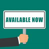 Illustration Of Available Now Sign Flat Concept poster