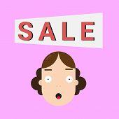 Girl, Sale, Saleman, Business, Cartoon Flat Vector Illustration. poster