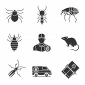 Pest Control Glyph Icons Set poster