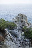 Rocks On The Coast Of Lloret De Mar In A Beautiful Summer Day, Costa Brava, Catalonia, Spain. Waterf poster