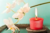 image of karma  - harmony atmosphere with red candle and orchid - JPG