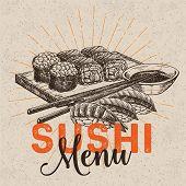 Vector Hand Drawn Sushi Set. Japanese Food Sketch Illustration For Sushi Rolls Bar Menu, Banner, Fly poster