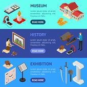 Museum Exhibits Galleries Banner Horizontal Set Isometric View Include Of Ticket, Sculpture, Statue, poster