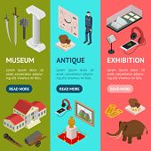 Museum Exhibits Galleries Banner Vecrtical Set Isometric View Include Of Ticket, Sculpture, Statue,  poster