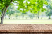 Empty Wood Table Over Blur Green Park Nature Background, Tabletop, Shelf, Counter For Product Displa poster