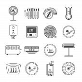 Climate Control Line Art Icon Set Isolated Illustration. Air Conditioner, Battery, Fan, Oil Heater,  poster