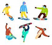 Snowboarding Extreme Tricks Set Isolated Illustration. Winter Extreme Sport, Outdoor Adventure, Moun poster