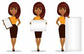 African American Business Woman Cartoon Character. Set Of Young Beautiful Businesswoman In Smart Cas poster