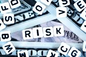 Plastic Letter Beads Spelling risk On Us Dollars Background, Financial Or Currency Risk Concept poster