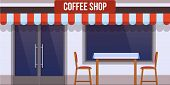 Modern City Facade Of Cafe Building. Facade Of Cafe Street Building With Glass Window And Door. Stre poster