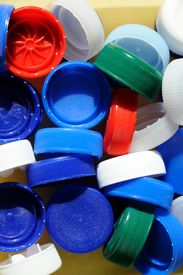 image of plastic bottle  - a gruop of a plastic bottle caps - JPG
