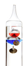 pic of galileo-thermometer  - Galileo thermometer on the white background - JPG