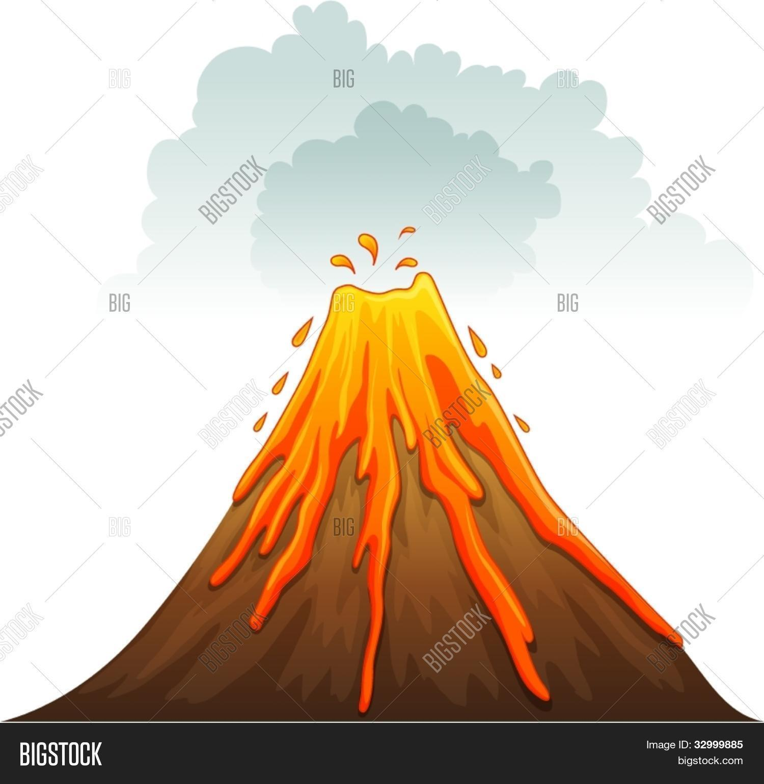 V Is For Volcano Clipart Illustration of a volc...