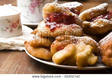 Dough With Marmelade On Wooden Board