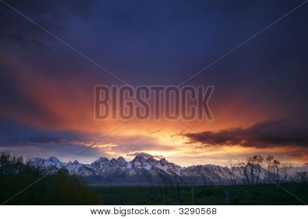 Sunset In The Grand Tetons National Park