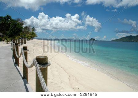 Boardwalk On A Beautiful Deserted Beach.