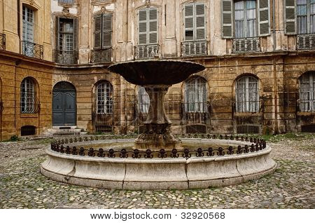 Fountain on Albertas square, Aix-en-Provence, France.