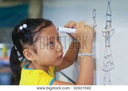 GUAYAQUIL, ECUADOR - FEBRUARY 8: Unknown kid in lesson drawing in primary school by project to help deprived children in deprived areas with education, February 8, 2011 in Guayaquil, Ecuador.