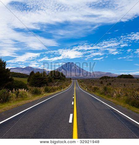 Road leading to active volcanoe Mt Ngauruhoe, NZ
