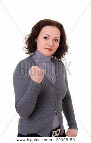 Woman In The Gray Cardigan