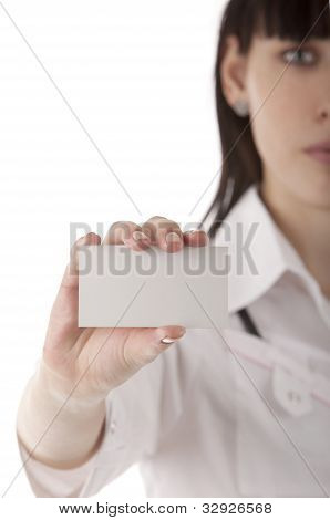Girl Showing Business Card In Her Hands