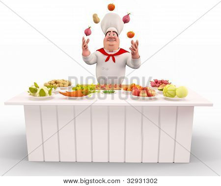 Chef with vegetables on the table
