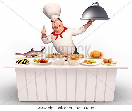 Chef walking with non-veg dish