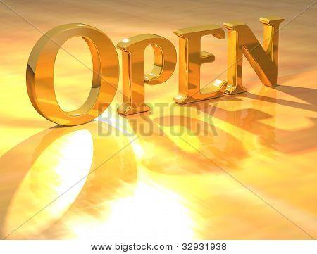 3D Open Gold Text
