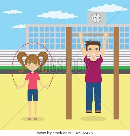 Children Do Sport Near School.
