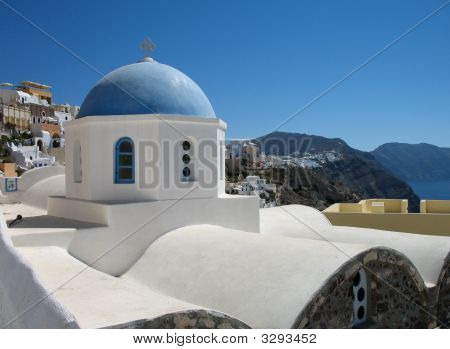 Blue Dome And Sea Vista - Santorini Island
