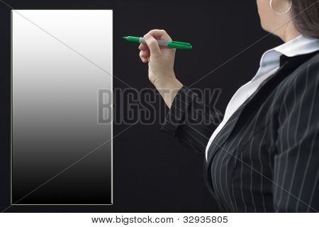 Businesswoman With Blank Gradient Chart