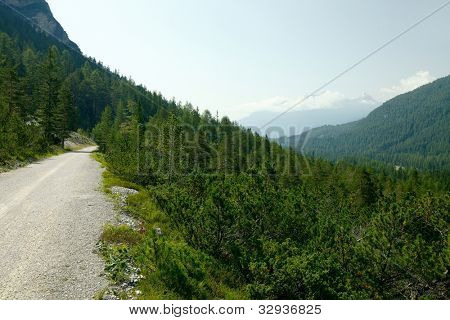 Dirt road in a mountain landscape