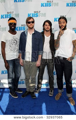 "LOS ANGELES - MAY 12:  Gym Class Heroes. arrives at the ""Wango Tango"" Concert at The Home Depot Center on May 12, 2012 in Carson, CA"