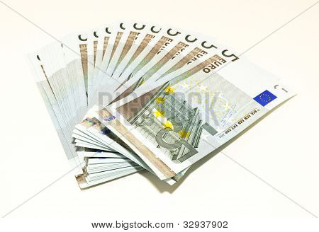 A set of Five Euro notes
