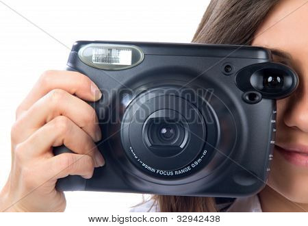 Woman With Old Style Big Photo Camera Taking Picture