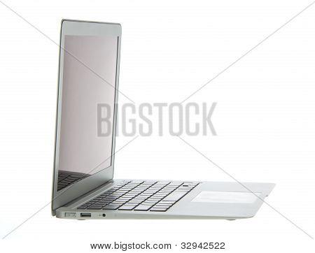 Silver Aluminum Laptop Computer Notebook Side