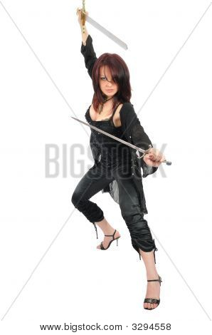 Assassin Woman With Two Swords