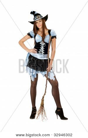Charming Young Woman With A Besom