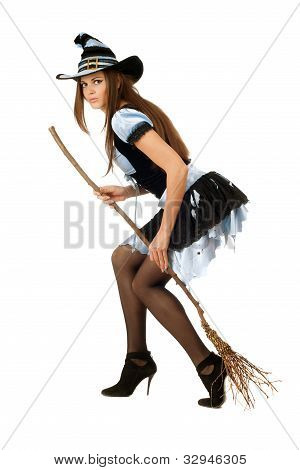 Attractive Young Woman With A Besom