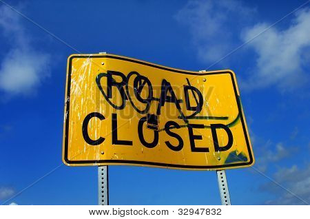 Angled Road Closed