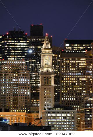 Financial District of Boston, Massachusetts with the prominent Custom House Tower.