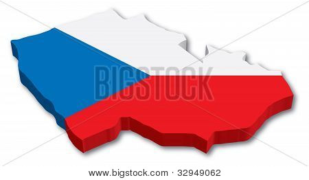 3D Czech map with flag